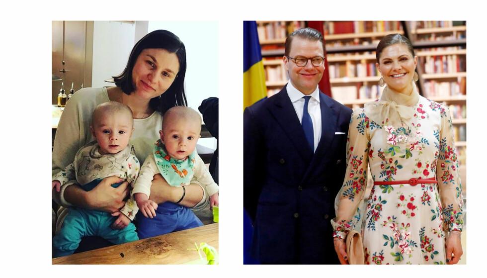 KRONPRINSESSE VICTORIA: Den svenske kronprinsessen roste alenemoren Anna Swic da de møttes om bord på flyet fra Riga til Stockholm i slutten av april. Bildet at Victoria og Daniel er fra Riga-turen. Legg merke til at hun på selfien i saken har på seg den samme kjolen om bord på flyet på vei hjem som under besøket i Latvia. FOTO: Privat og NTB Scanpix
