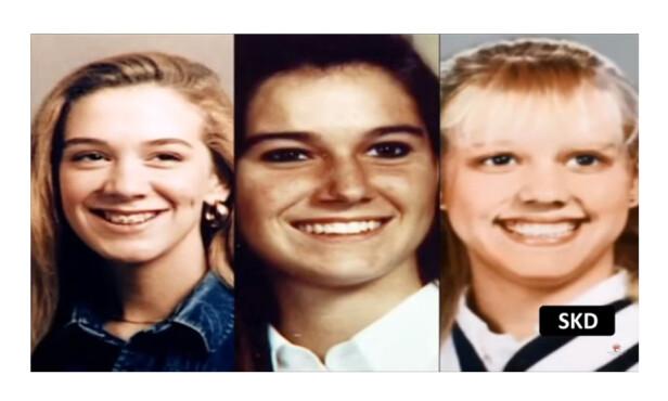 BLE FRARØVET LIVET: De tre tenåringsjentene Leslie Mahaffy (t.v.), Kristen French (midten) og Tammy Homolka ble drept av seriemorder-paret Karla Homolka og Paul Bernardo. FOTO: Skjermdump fra The Scarborough Rapist : Crime Documentary // YouTube