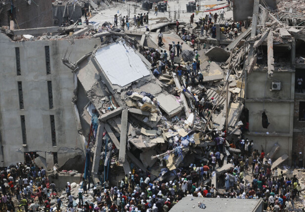 RANA PLAZA: 1138 mennesker døde i fabrikkulykken i 2013. Foto: Scanpix