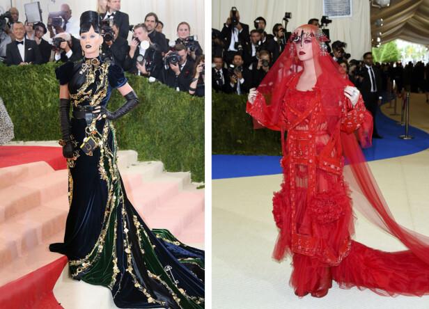 STJAL SHOWET: Her er Katy Perry i Met-galla-antrekk fra 2016 og 2017. Foto: Scanpix