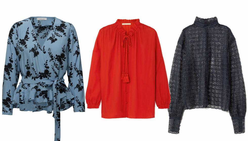 BLUSEN: Bluse fra Samsøe Samsøe, kr 899. Bluse fra Maje, kr 1925. Bluse fra H&M, kr 999.