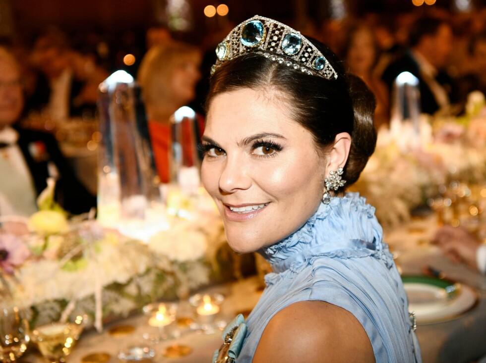 VAKKER: Kronprinsesse Victoria under Nobel-banketten i Stockholm i 2017. FOTO: NTB scanpix