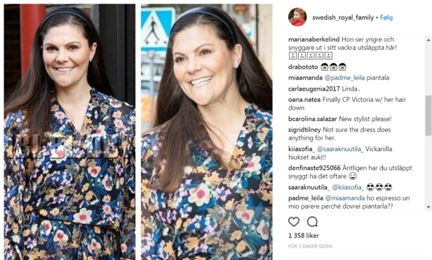 ENDELIG: Flere skriver i kommentarfeltet på den uoffisielle fan-kontoen @Swedish_royal_family på Instagram, at de synes det er på tide at kronprinsesse Victoria går med utslått hår. FOTO: Skjermdump fra @Swedish_royal_family