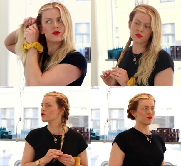 TVINNE HÅRET: Ønsker du å bevare håret, og samtidig våkne opp med bølgete hår? Om du tvinner håret slik Lene Skaugerud gjør her (ikke for stramt), og fester det med fliseklemmere, vil du våkne opp med fine bølger. FOTO: Ida Bergersen