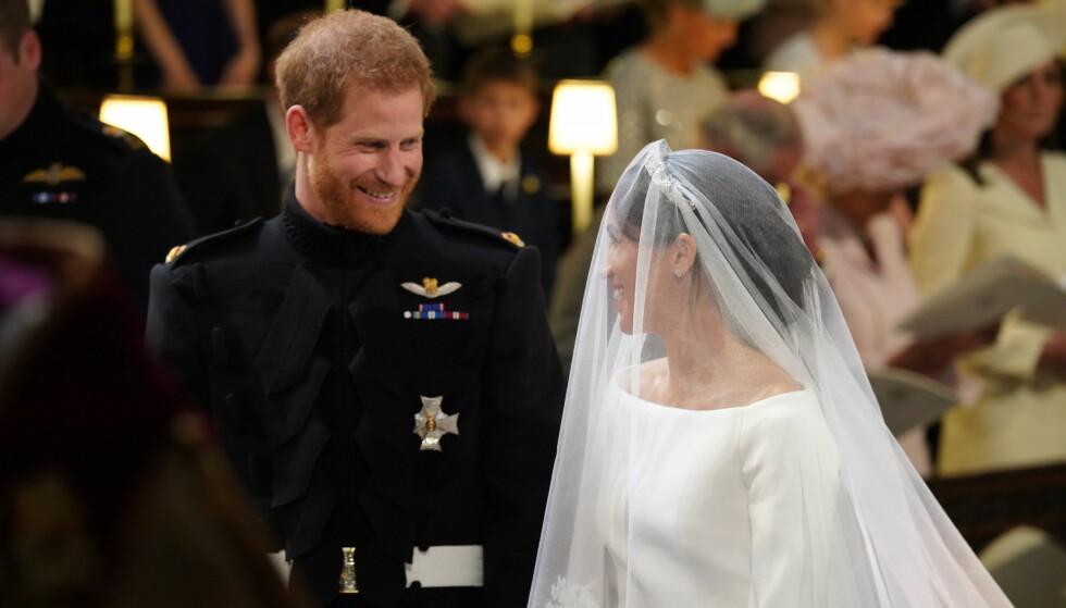 <strong>MEGHAN MARKLE BRYLLUP:</strong> Nå er prins Harry og Meghan Markle gift - og fra og med nå blir hun titulert hertuginne Meghan av Sussex. Bryllupet sto i Windsor Castle lørdag 19. mai 2018. FOTO: NTB Scanpix