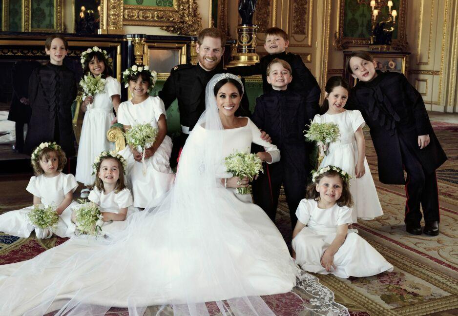 MEGHAN MARKLE SMINKE: Den nye hertuginnen strålte på den store dagen! Foto: Scanpix