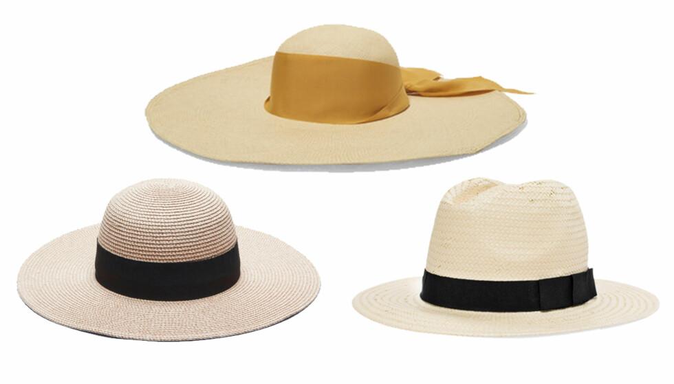 STRÅHATT: Fra venstre: Hatt fra Gina Tricot, kr 149. Hatt fra Sensi Studio via Net-a-porter.com, kr 1950. Hatt fra Kappahl, kr 199.