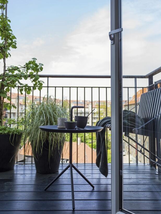 Det kan være en utfordring å finne en fin benk til balkongen som ikke tar all plass. Her er problemet løst med en «svevende» benk fra Altan.dk. Det lille bordet til kaffekoppen er fra Hay. FOTO: Andreas Mikkel