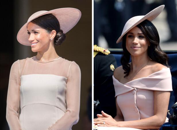 GLAD I PASTELLER: Hertuginnen har den siste tiden gått for duse rosafarger i antrekkene sine. Foto: Scanpix