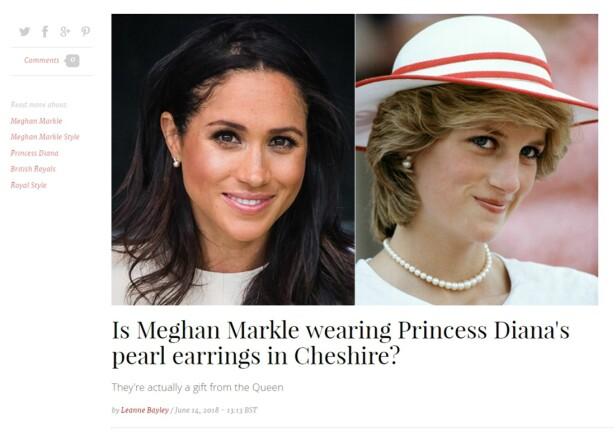 LIGNER PÅ DIANAS: Perleøredobbene hertuginne Meghan bar ligner på noen Dianas en gang har hatt. Foto: Skjermbilde av Hellomagazine.com
