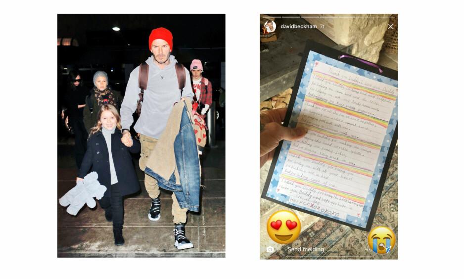 DAVID BECKHAM: Den tidligere fotballspilleren David Beckham fikk tidenes søteste brev av datteren Harper Beckham i forbindelse med farsdagen som i Storbritannia og USA var søndag 17. juni. FOTO: NTB Scanpix // Skjermdump fra David Beckhams Instagramkonto