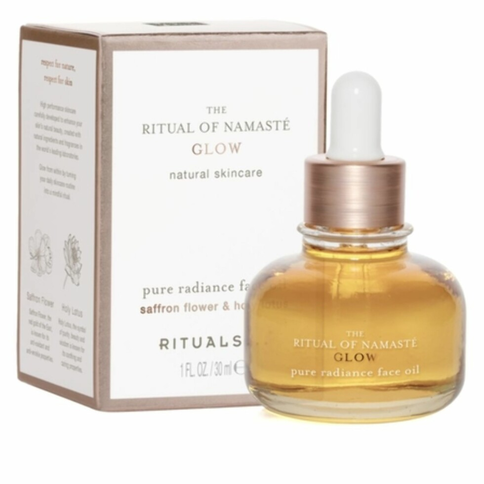 Pure radiance face oil fra Rituals |355,-| https://www.rituals.com/en-no/the-ritual-of-namaste-anti-aging-face-oil-1101166.html#start=1