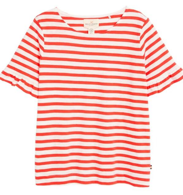 T-skjorte fra | Lindex | https://www.lindex.com/no/dame/sustainable-choice/7731724/Stripet-topp-med-volanger/