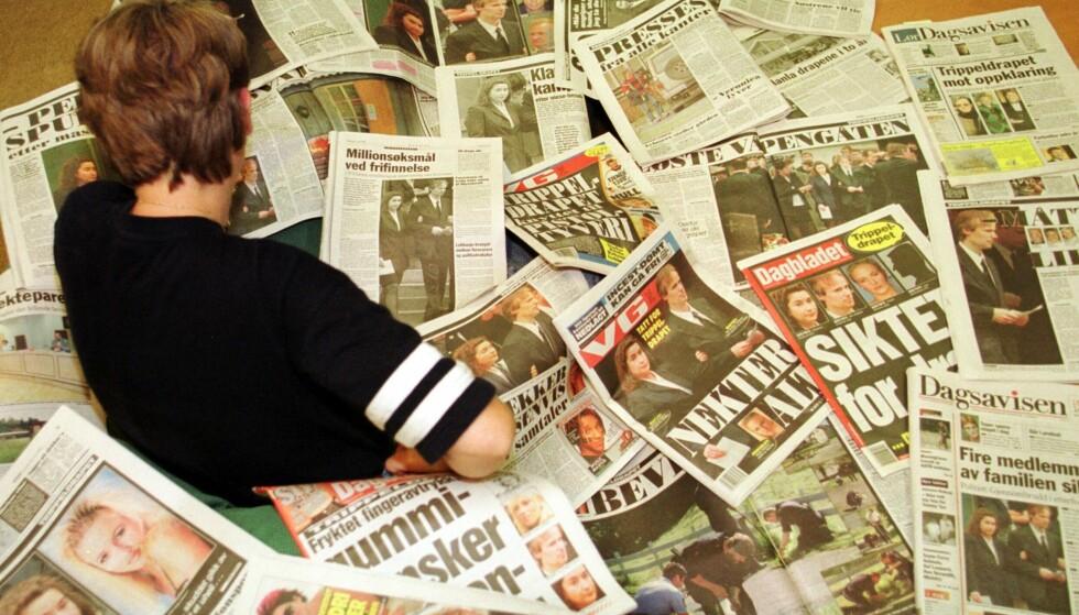 MASSIV MEDIEDEKNING: Trippeldrapet på Orderud gård er uten tvil en av Norges mest omtalte drapssaker. Dette bildet er tatt i juli 1999 - to måneder etter at drapene fant sted. FOTO: NTB Scanpix