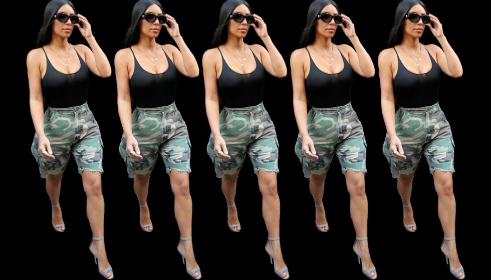 BERMUDASHORTS: Kim Kardashian er blant kjendisene som har kastet seg på shortstrenden. Foto: Scanpix