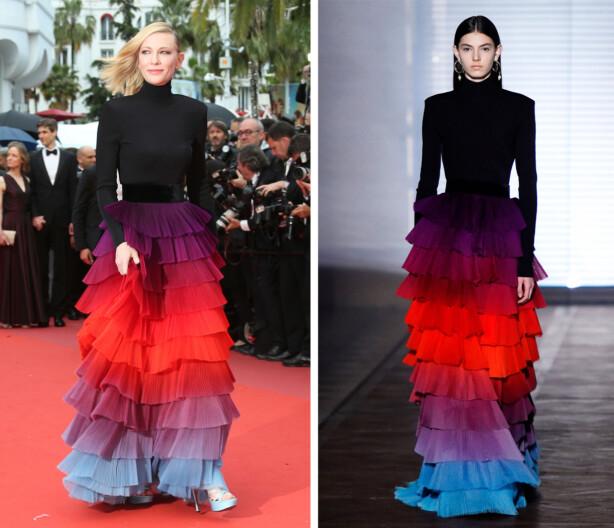 CATE BLANCHETT: Skuespilleren (t.v.). brukte en kjole fra Givenchys SS18-kolleksjon under filmfestivalen i Cannes. Foto: Scanpix