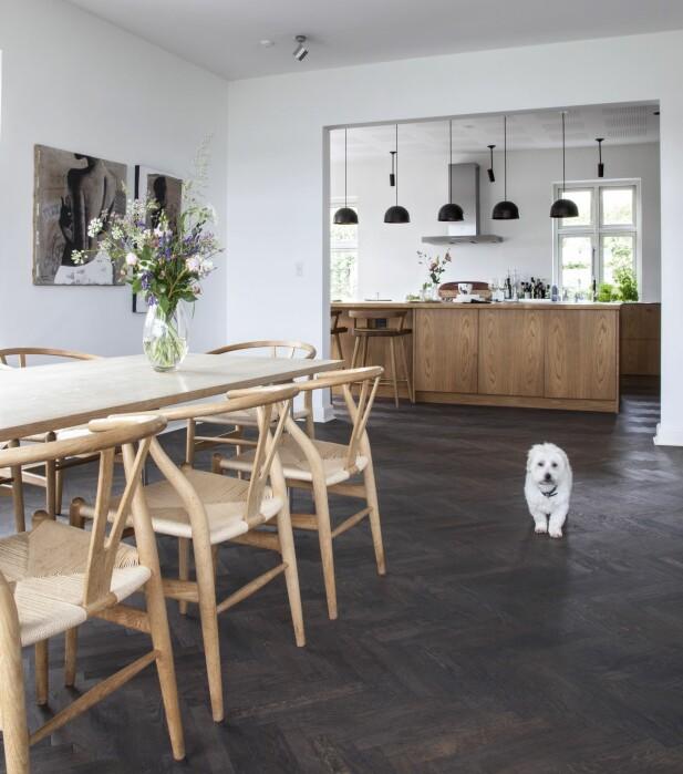 En åpen vei mellom kjøkken og stue trekker lys inn i hele boligen og får kjøkkenet til å framstå som et samlende midtpunkt. Pendler fra Københavns Møbelsnedkeri. FOTO: Iben og Niels Ahlberg