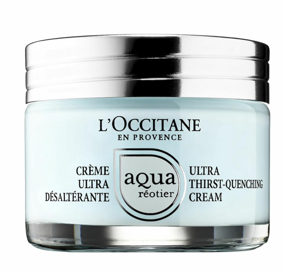 2. Mineralrikt kildevann og hyaluronsyre /kr 260, L'Occitane, Ultra Thirst-Quenching Cream).