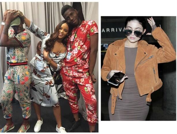 I GANNI: Rihanna poserer i kjole og jakke fra Ganni, mens Kylie topper hele antrekket i denne semskede jakken. Foto: Skjermdump fra Instagram / @baadgalfenty, Scanpix