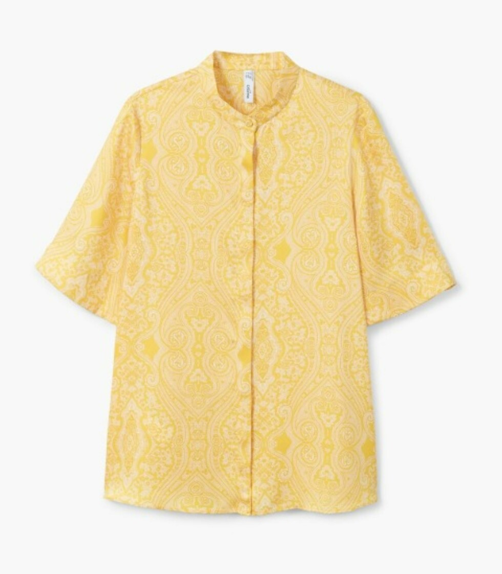 Gul topp fra Mango  349,-  https://shop.mango.com/no/damer/skjorter-skjorter/bluse-med-paisley-trykk_31090912.html?c=12