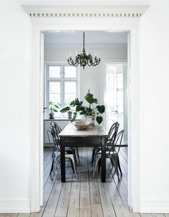 Det gamle spisebordet har fått Tolix-stoler rundt seg. Over henger en antikk lysekrone. FOTO: Tia Borgsmidt