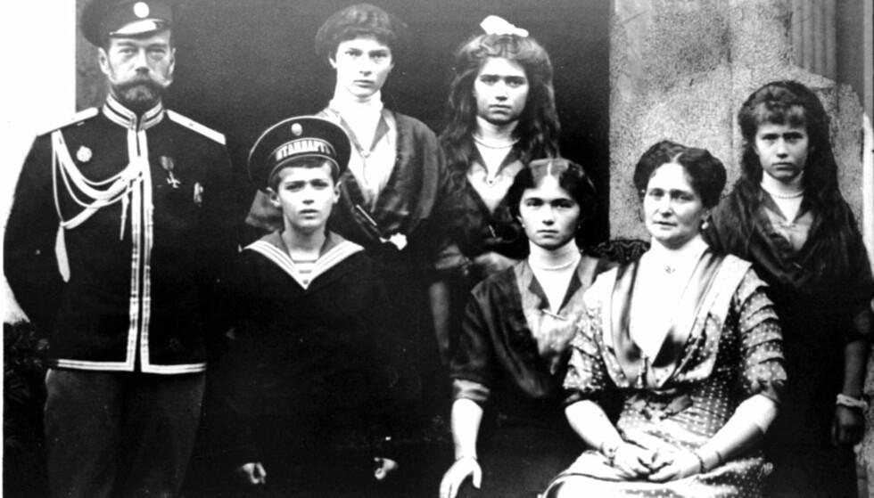 UTSLETTET: 17. juli 1918 ble tsar Nikolaj, tsarina Aleksandra og parets fire barn kronprins Aleksej (13), storhertuginne Anastasia (17), storhertuginne Maria (19), storhertuginne Tatjana (21) og storhertuginne Olga (22) brutalt drept av medlemmer av det bolsjevikiske partiet. FOTO: NTB Scanpix
