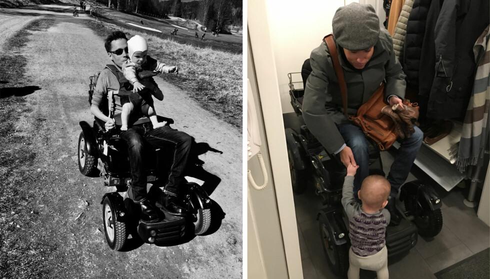 FAR OG SØNN: Jan Grue gleder seg til å skape en god relasjon i form av gode samtaler med sønnen Alexander. Han kom til verden i 2016, og er allerede blitt en aktiv krabat. FOTO: Privat