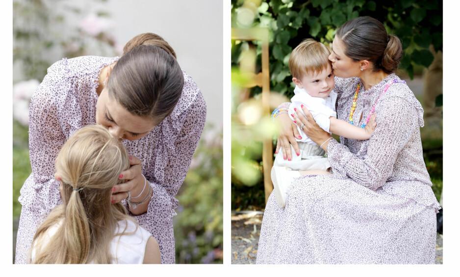 KRONPRINSESSE VICTORIA: Kronprinsessen av Sverige er ikke redd for å vise kjærlighet overfor sine barn - heller ikke i det offentlige rom. Disse bildene er tatt da hun feiret 41-årsdagen på Solliden på Öland i juli. FOTO: NTB Scanpix
