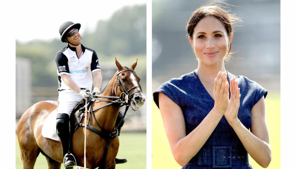 STOLT AV EKTEMANNEN: Hertuginne Meghan fulgte med fra sidelinjen og heiet frem sin sporty kjæreste under polomatchen i England i juli. FOTO: NTB Scanpix