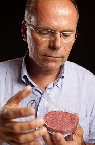 I 2013 presenterte nederlandske Mark Post en hamburger av in vitro-kjøtt. FOTO: Redwan Farooq / Mosa Meat