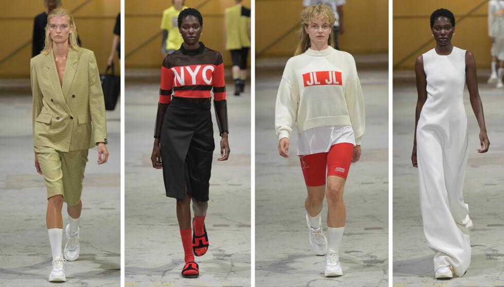 J. LINDEBERG: Kolleksjonen var sporty, med lette jakker, ettersittende kjoler, badedrakter og shortser stylet med blazer. FOTO: Copenhagen Fashion Week