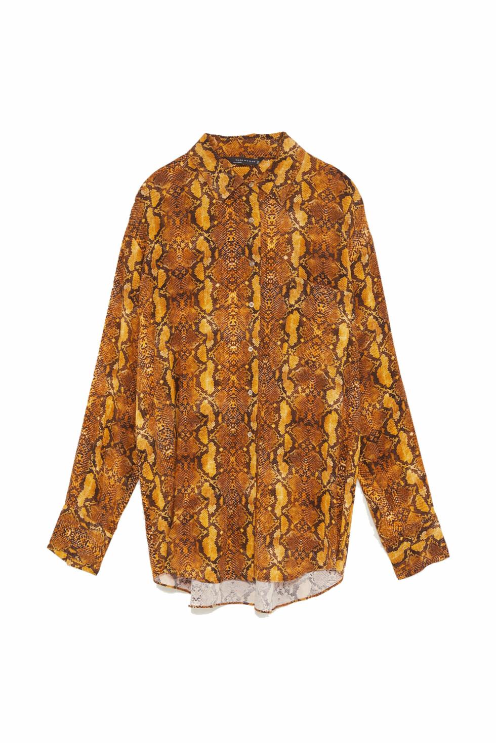 Skjorte fra Zara  549,- https://www.zara.com/no/no/skjorte-med-slangem%C3%B8nster-p08091710.html?v1=7118654&v2=1074635