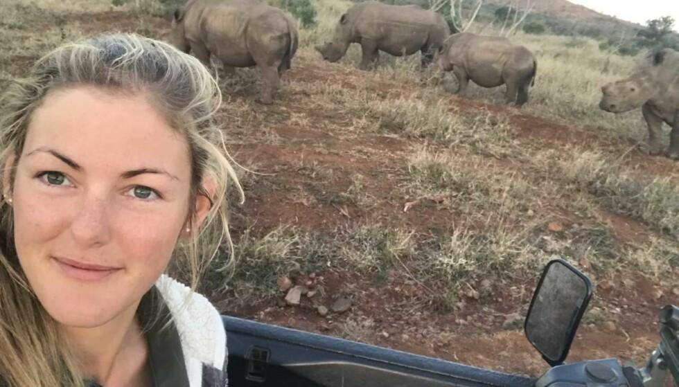 LENGTET TILBAKE: Etter å ha besøkt Sør-Afrika to ganger, klarte ikke Alexandra å legge drømmen om å jobbe i reservatet på hylla. FOTO: Privat