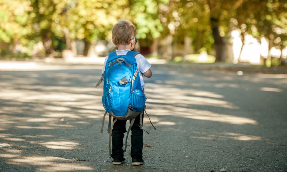 FØRSTE SKOLEDAG: Denne uken har mange små første skoledag, og mange foreldre føler nok litt ekstra på det. FOTO: NTB Scanpix