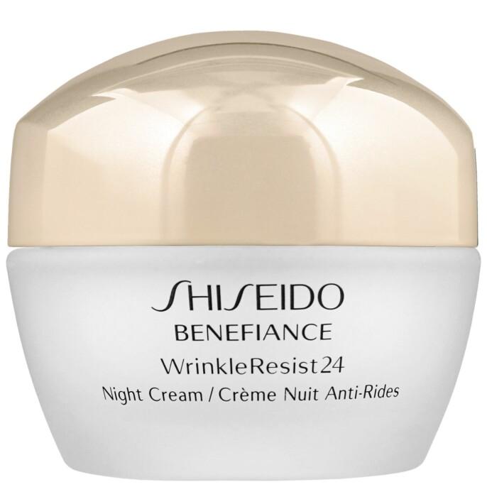 Med berolignede duft (kr 875, Shiseido, Benefiance WrincleResist24 Night Cream).