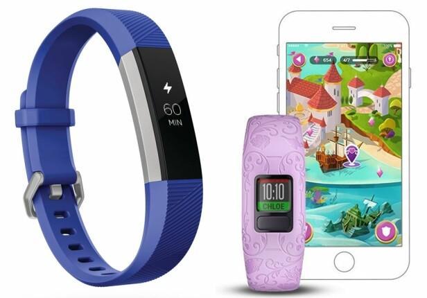 AKTIVITETSMÅLERE TIL BARN: Det finnes i dag ulike typer aktivitetsmålere på markedet, blant annet Fitbit Ace og Vivofit Jr. FOTO: Produsentene