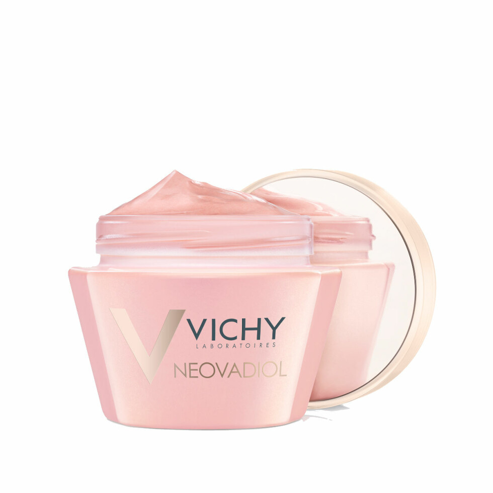 Krem som tilfører næring og glød til matt overgangsalderhud (kr 370, Vichy, Neovadiol Rose Platinum).