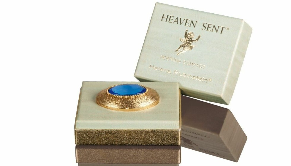 Parfymen «Heaven Sent» ble laget fordi Elizabeth Arden lanserte duften «Blue Grass». Den kom i fast form og var vakkert dekorert. FOTO: Produsenten