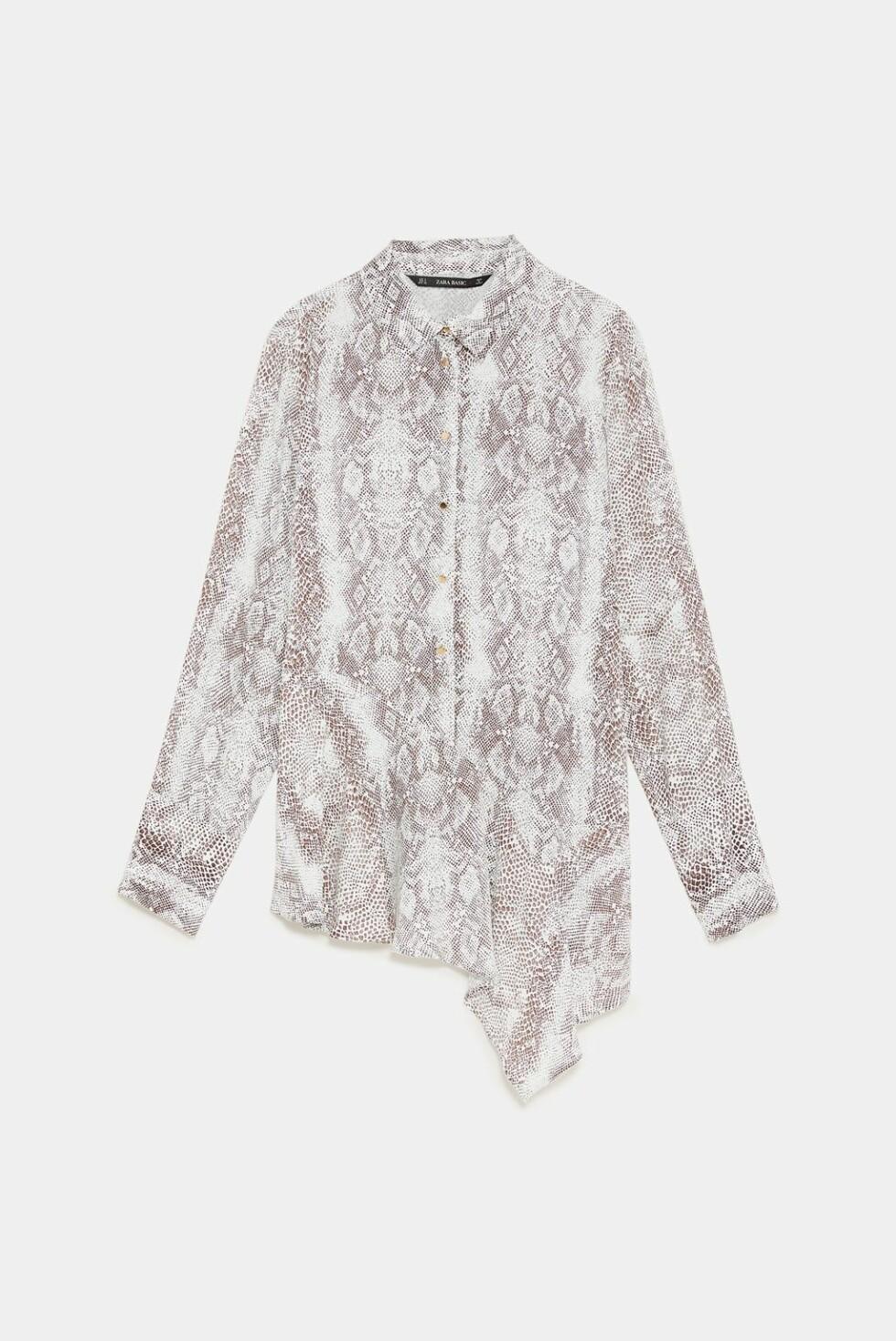 Skjorte fra Zara |350,-| https://www.zara.com/no/no/asymmetrisk-skjorte-med-dyrem%C3%B8nster-p09878168.html?v1=7386610&v2=1074660