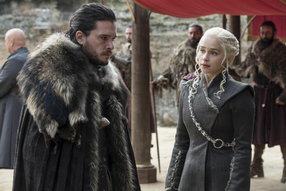 GOT: Kit Harington og Emilia Clarke spiller karakterene Jon Snow og Daenerys Targaryen. FOTO: HBO