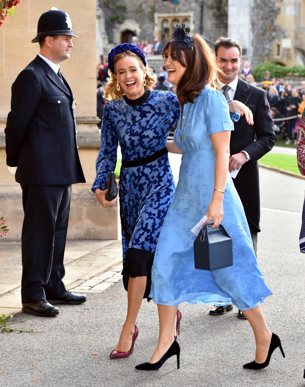 KONGELIG BRYLLUP: Prins Harrys ekskjæreste Cressida Bonas (t.v.) er god venninne med prinsesse Eugenie. Hun var derfor en selvskreven gjest i bryllupet. FOTO: NTB Scanpix