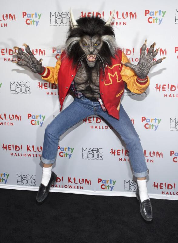 "2017: Heidi Klum utkledd som varulf fra Michael Jacksons musikkvideo til låta""Thriller"". Foto: Scanpix"