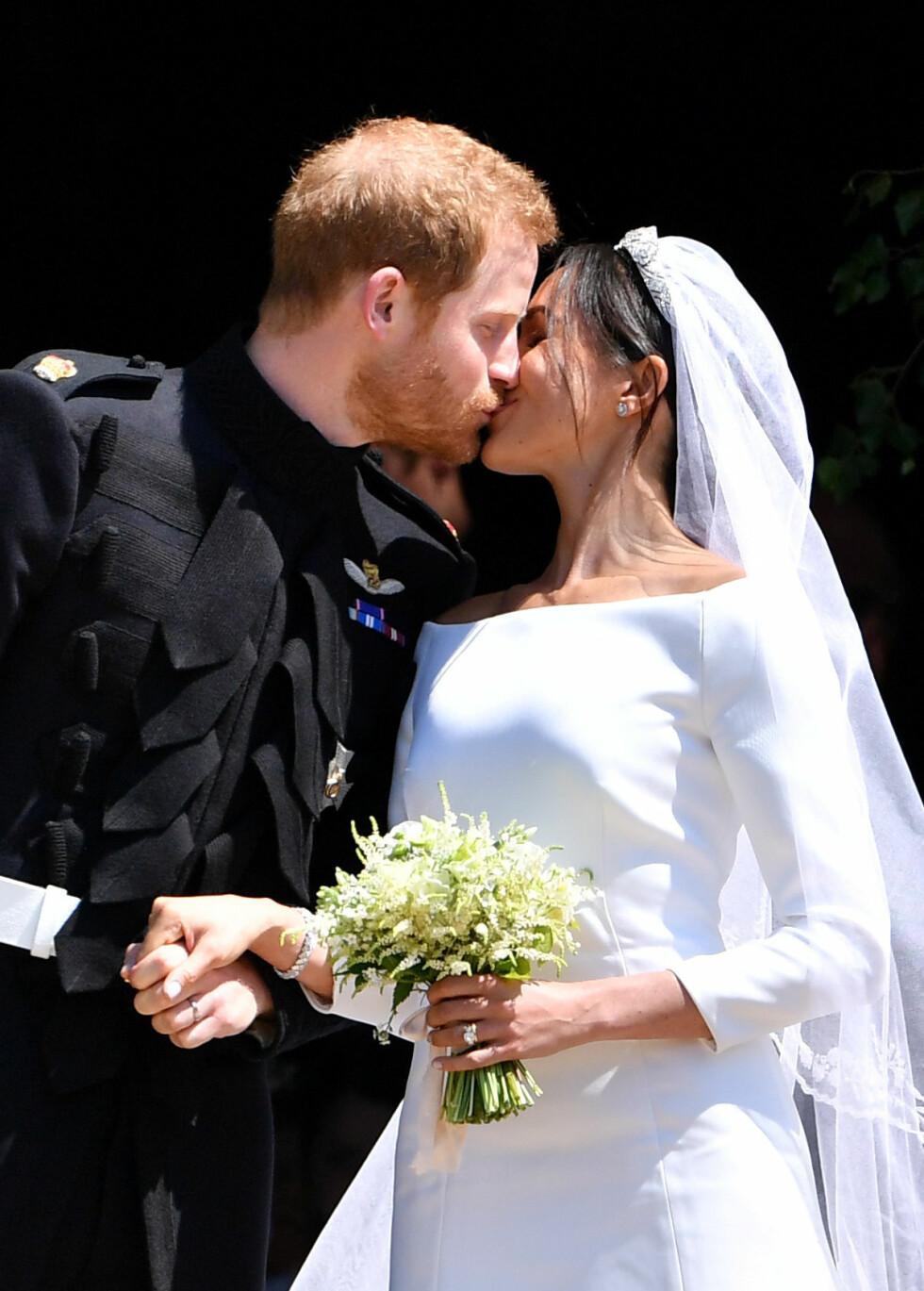 STORSLÅTT BRYLLUP: Prins Harry og Meghan Markle giftet seg 19. mai 2018. Da ble hun hertuginne Meghan. FOTO: NTB Scanpix