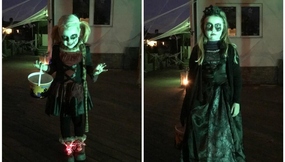 KOSTYMER SOM MATCHER: Døtrene Ronja og Ylva synes Halloween er minst like morsomt som foreldrene sine. FOTO: Privat