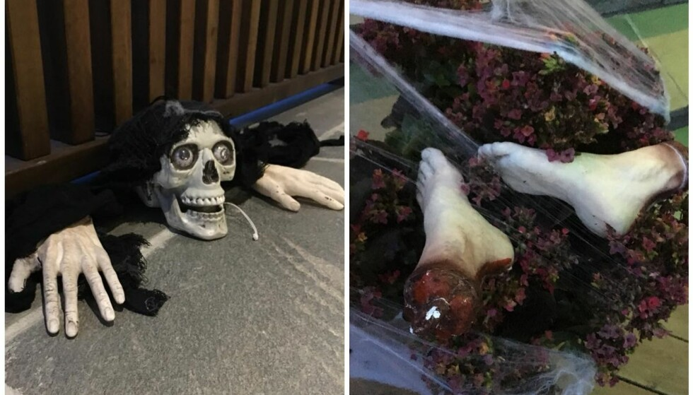 BLODIGE EFFEKTER: Skjeletter og avkappede føtter er bare noe av det man kan finne i buskene utenfor familiens hus. FOTO: Privat