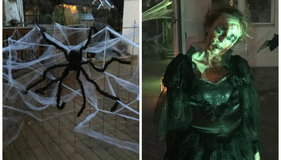 HALLOWEEN-PYNT: De siste tre årene har familien Einarsen brukt mye tid og penger på å skape det som kan være nabolagets skrekkeligste Halloween-hus. FOTO: Privat
