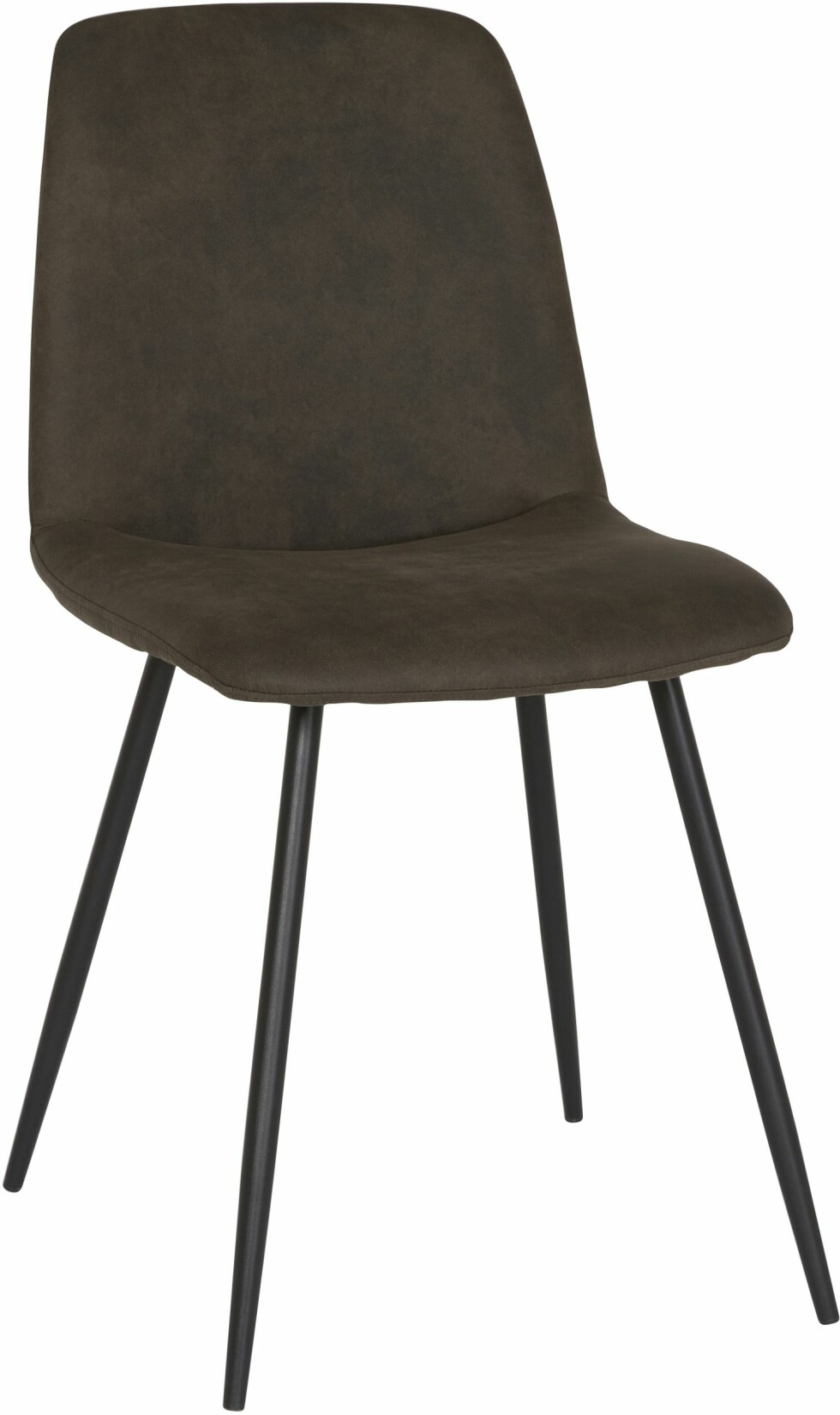 Spisebordsstolen «Smokey» har vintage-grått stoff og svarte metallbein (kr 699, Bohus).