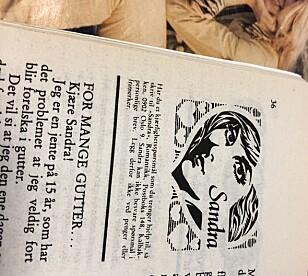 OM SEG?: Jenta spør «Sandra» om hun har vært sammen med for mange gutter. Legg merke til de purunge idolene «Dollie de Luxe» i bakgrunnen. FOTO: Hege Løvstad Toverud/faksimile «Romantikk».