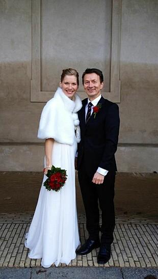 ENDELIG GIFT: Hans Kristian og Karen Marie giftet seg i København etter litt press fra henne. FOTO: Privat