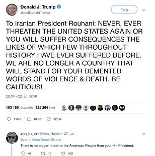 TRIGGERHAPPY PÅ TASTATURET: Ingen tvil om president Trumps budskap til den iranske presidenten 22. juli 2018. FOTO: Skjermdump Twitter